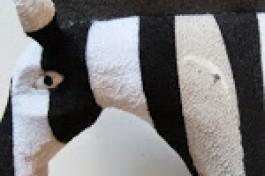A plastic flip-flop zebra!